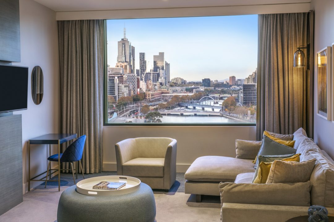 Lounge and view at Crowne Plaza Melbourne riverview suite