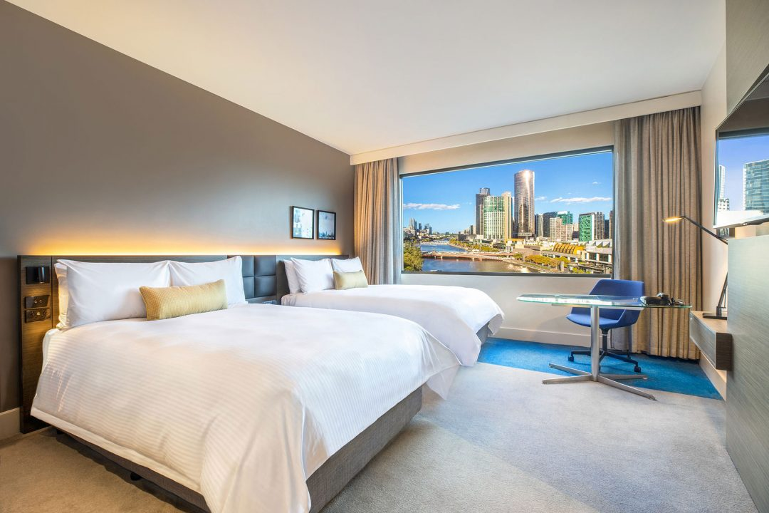 Twin room river view Crowne Plaza Melbourne