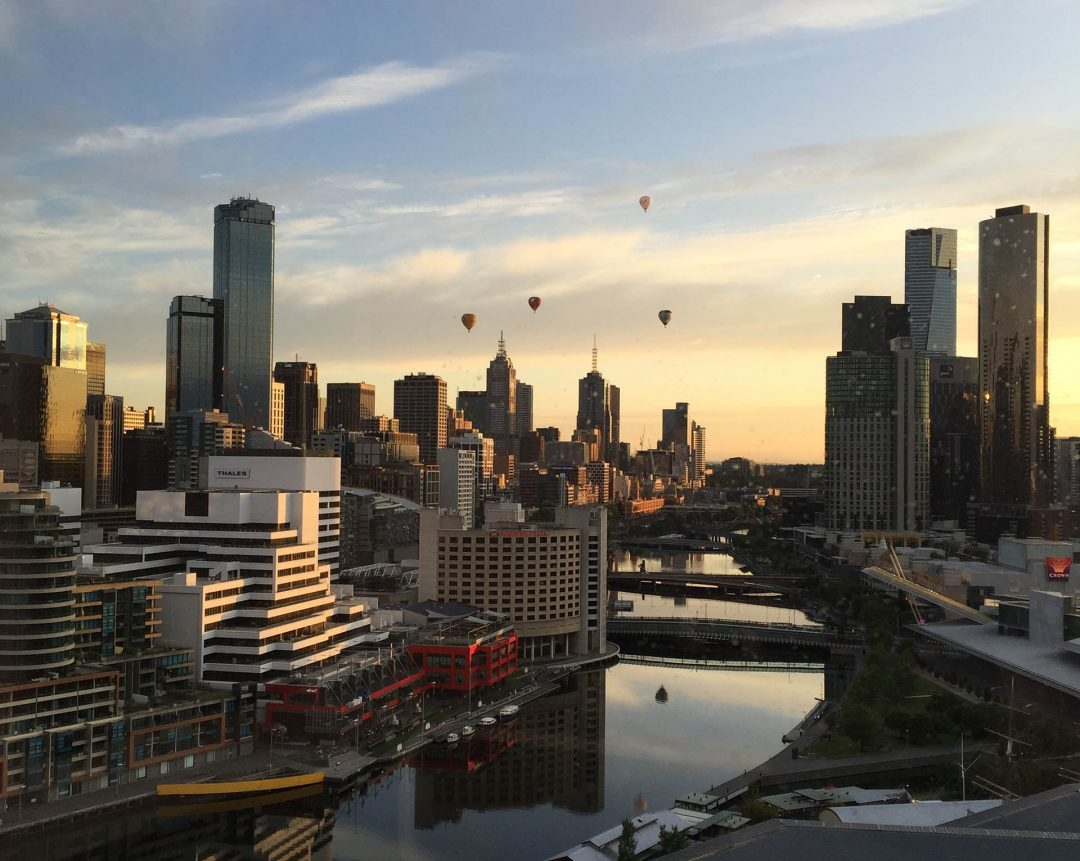 Hot air balloons Melbourne city