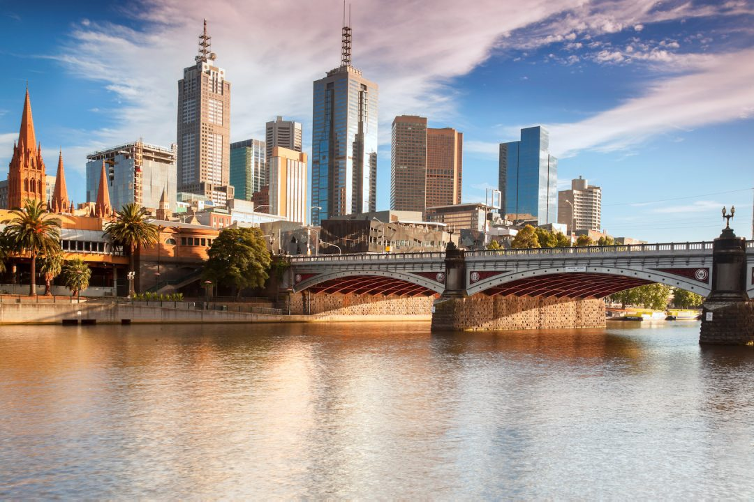 Melbourne City River Bridge City Scape