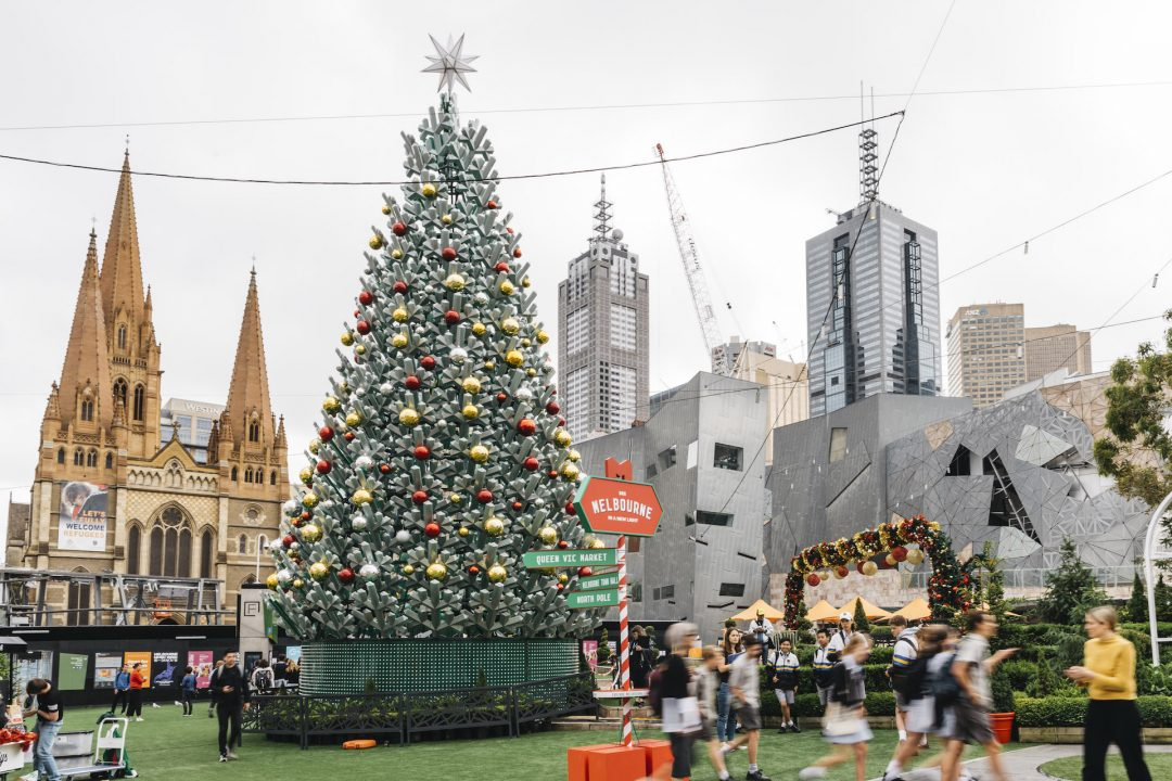 Christmas Tree in Christmas Square Christmas in Melbourne near Crowne Plaza Melbourne