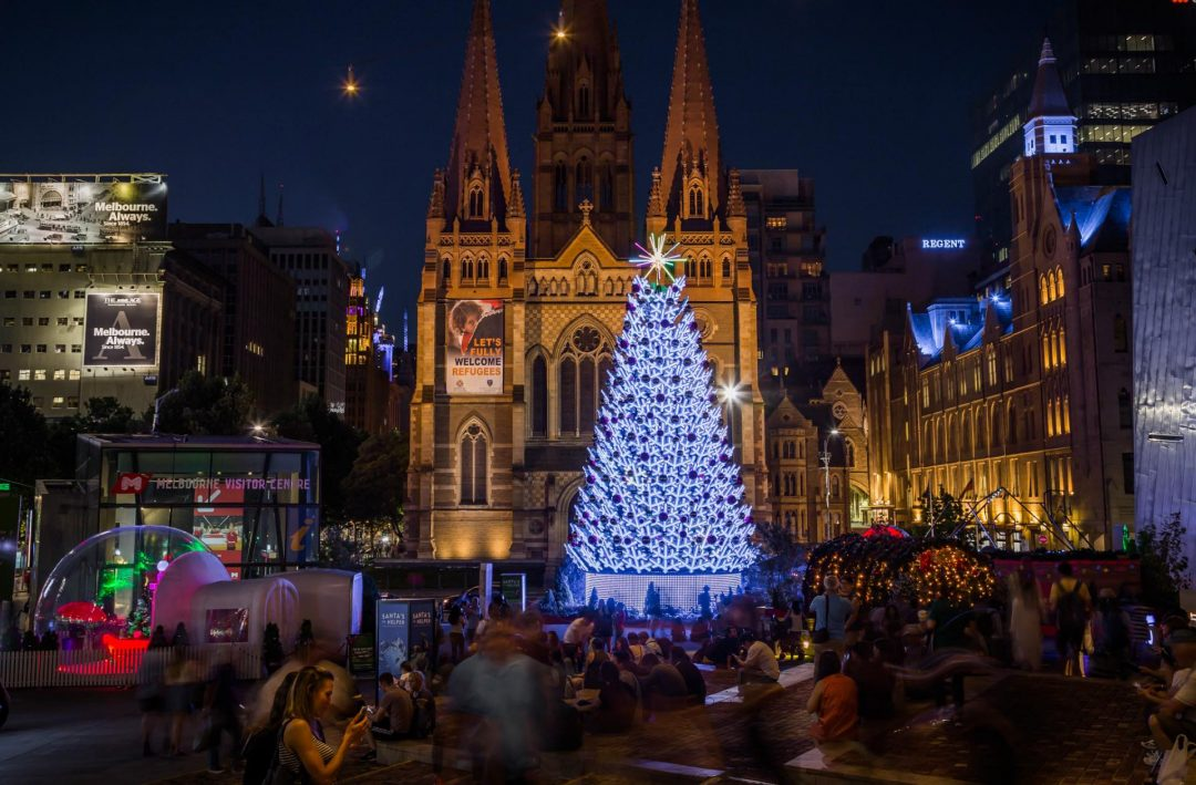 Christmas Tree Lights Christmas in Melbourne near Crowne Plaza Melbourne