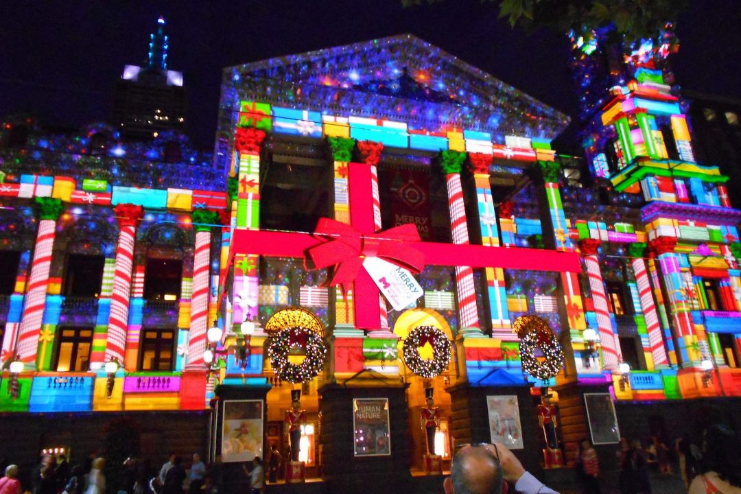 Christmas Projections Melbourne Town Hall Christmas in Melbourne near Crowne Plaza Melbourne